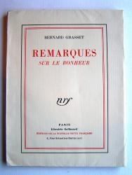 Bernard Grasset - Remarques sur le bonheur