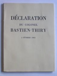 Déclaration du colonel Bastien-Thiry. 2 février 1963